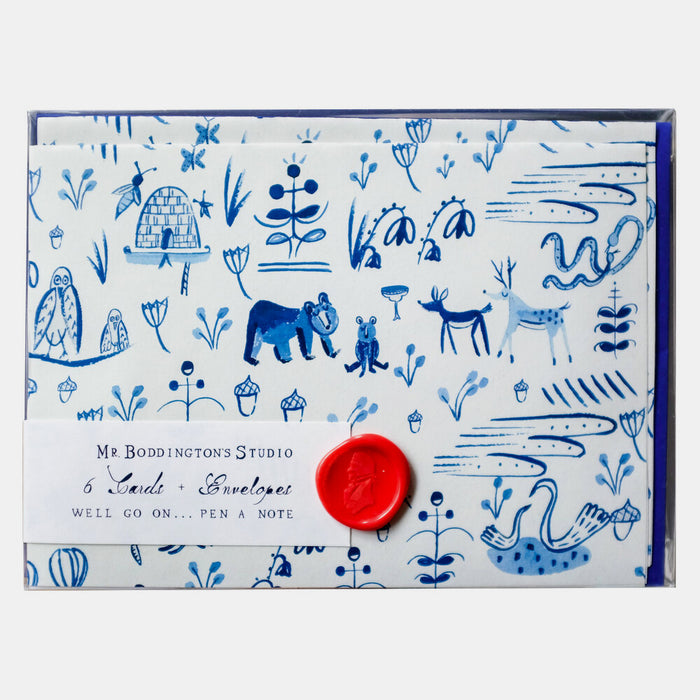 Forest Animal Toile Box of 6 Notecards