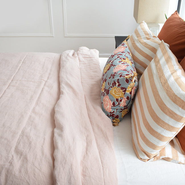 This Linge Particulier nude linen duvet adds a bit of blush and pink to your colorful linen bedding look from Collyer's Mansion