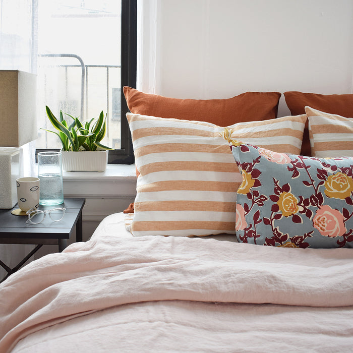 Linge Particulier Hazelnut Stripe Standard Linen Pillowcase Sham for a colorful linen bedding look in earthy light orange - Collyer's Mansion
