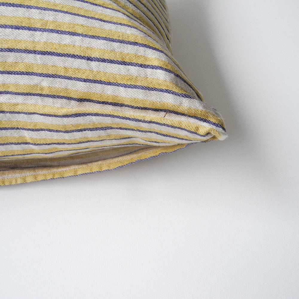 Ochre Blue Stripe Pillow, square