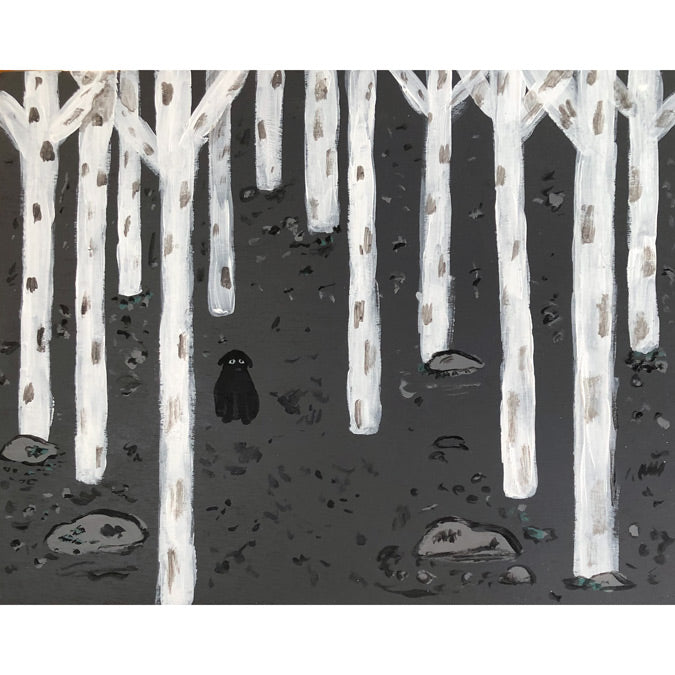 Original artwork Lost Dog by Steph Becker on acrylic on wood of black dog in a snowy forest - Collyer's Mansion