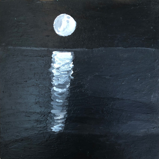 Original artwork Moonlight by Steph Becker on acrylic on wood of black and white moonlight reflecting on water - Collyer's Mansion