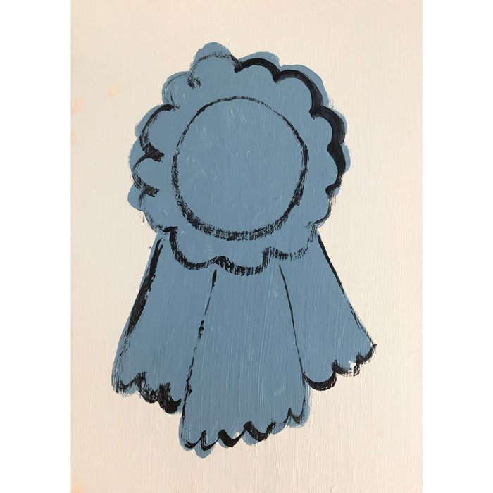 Original artwork Blue Ribbon by Steph Becker on acrylic on wood of a blue ribbon on off white - Collyer's Mansion