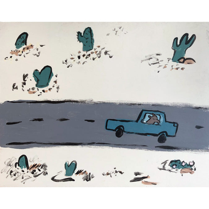 Original artwork Road Trip by Steph Becker of acrylic on wood of a dog driving a car with cactus - Collyer's Mansion