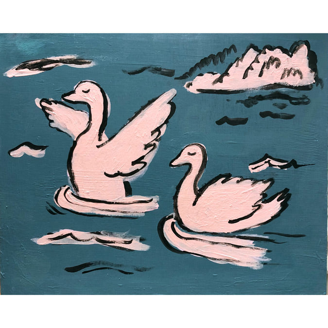 Original artwork Swans by Steph Becker of acrylic on wood of pink swans swimming in a lake - Collyer's Mansion
