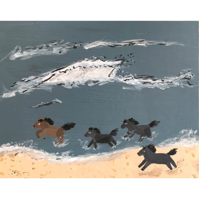 Original artwork Wild Horses by Steph Becker on acrylic on wood of wild horses running down the beach - Collyer's Mansion
