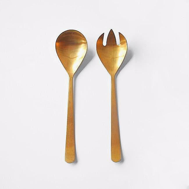 Oslo Salad Servers, gold plated