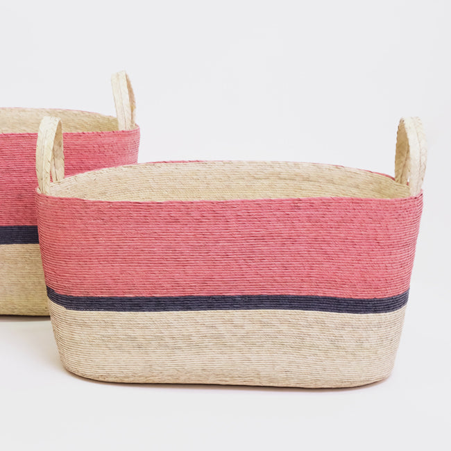 Coral and Navy Oval Floor Basket