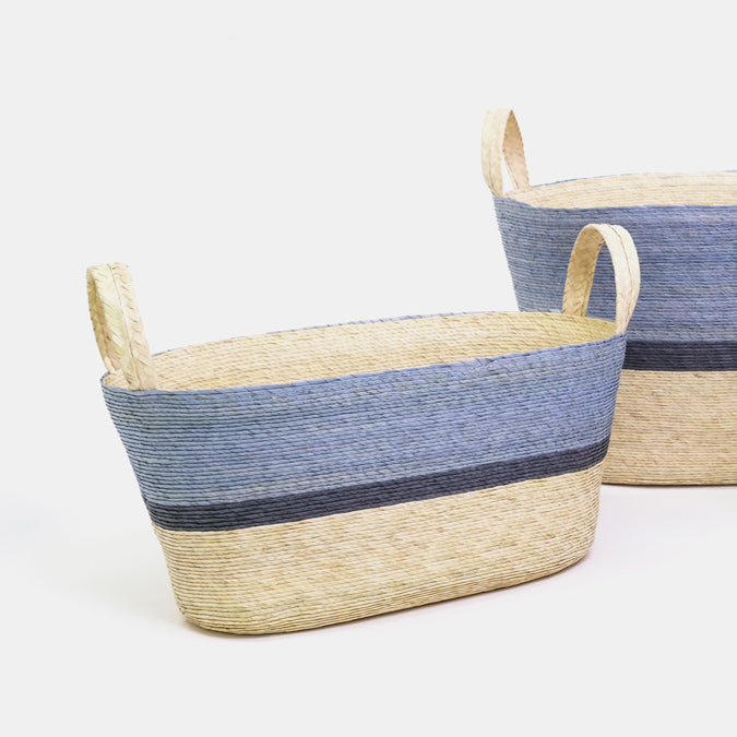Cielo Blue and Navy Oval Floor Basket