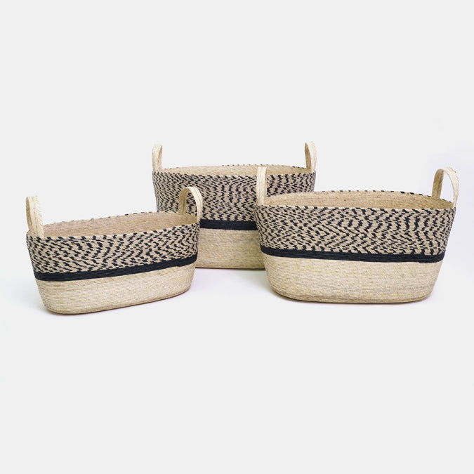 Pinto Pattern Oval Floor Basket