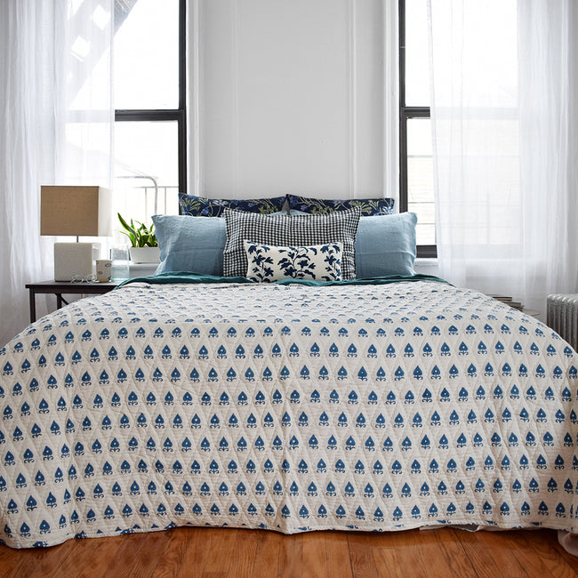 Linge Particulier Anthracite Gingham Standard Linen Pillowcase Sham with a block printed blue quilt for a colorful linen bedding look in dark check gingham - Collyer's Mansion