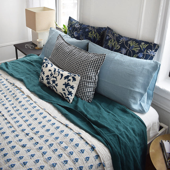 Linge Particulier Anthracite Gingham Standard Linen Pillowcase Sham with a block printed quilt and blue Utopia Goods pillowcases for a colorful linen bedding look in dark check gingham - Collyer's Mansion