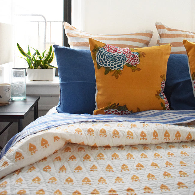 Linge Particulier Atlantic Blue Standard Linen Pillowcase Sham with honey quilt and Lisa Corti pillows for a colorful linen bedding look in electric blue - Collyer's Mansion