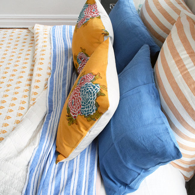 Linge Particulier Atlantic Blue Standard Linen Pillowcase Sham with mustard quilt and blue stripe linen sheet for a colorful linen bedding look in electric blue - Collyer's Mansion