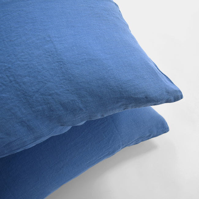Linge Particulier Atlantic Blue Standard Linen Pillowcase Sham for a colorful linen bedding look in electric blue - Collyer's Mansion
