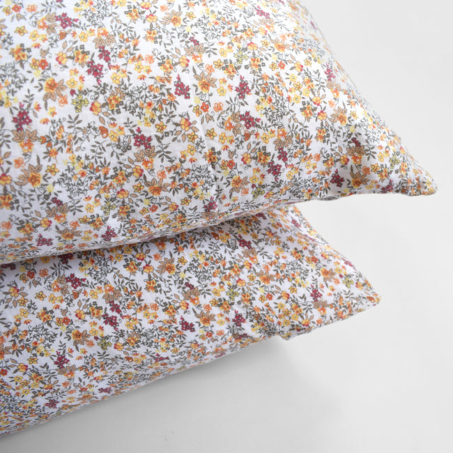 Linge Particulier Curry Flowers Standard Linen Pillowcase Sham for a colorful linen bedding look in yellow small floral pattern - Collyer's Mansion