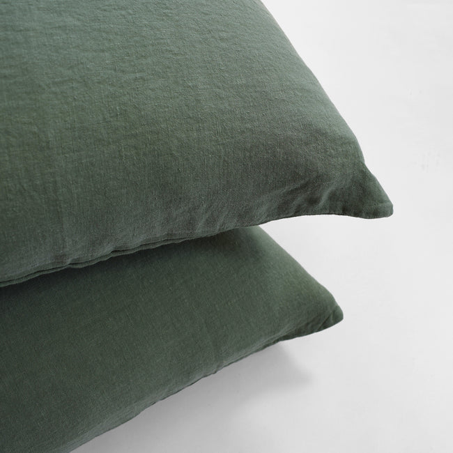 Linge Particulier Jade Green Standard Linen Pillowcase Sham for a colorful linen bedding look in camo green - Collyer's Mansion