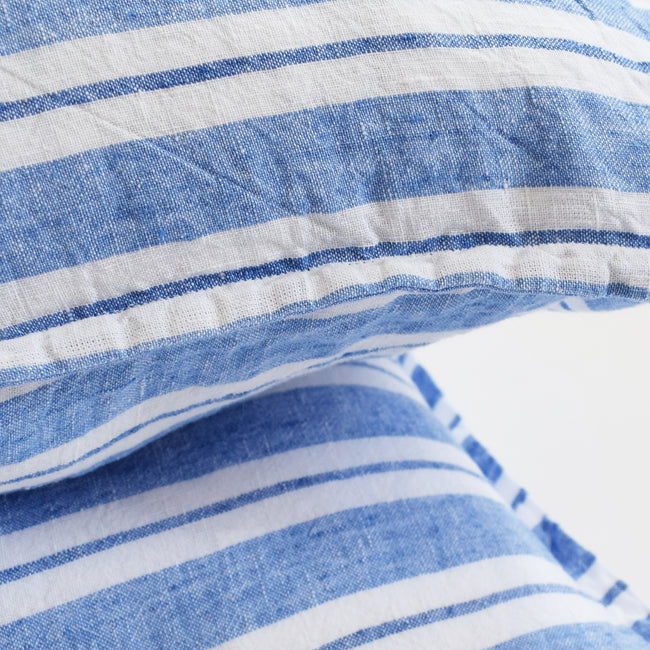 Linen Euro Pillowcase, large blue stripes