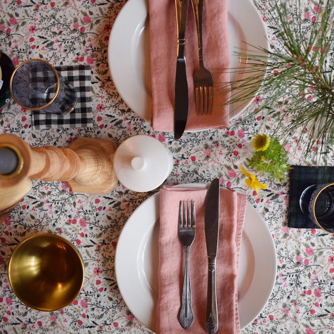 Linen Tablecloth, pink flowers