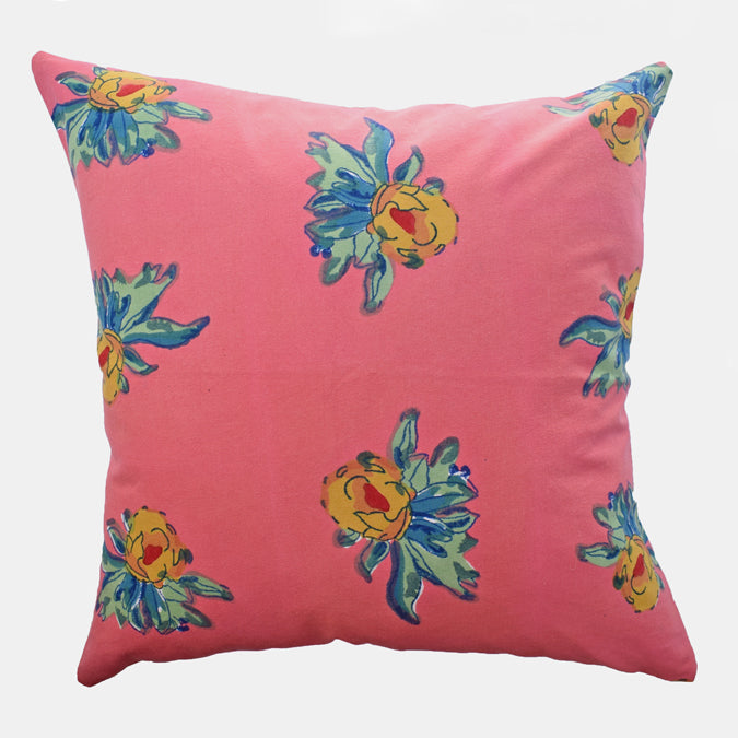Pink Geranium Pillow, square