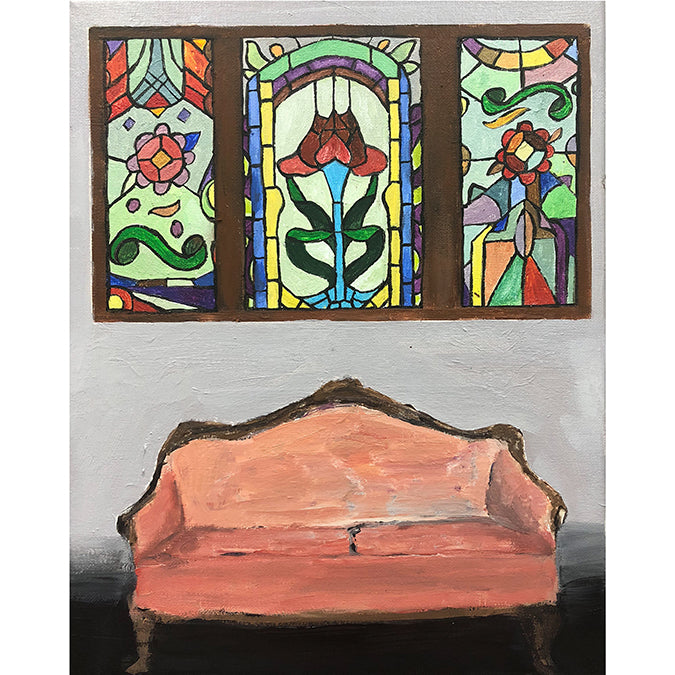 Pink Couch and Stained Glass Window