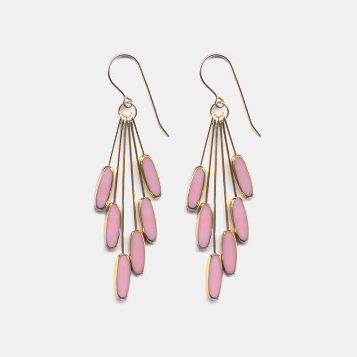 Pink Ellipse Cluster Earrings