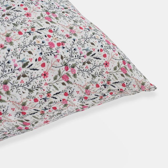 Linen Euro Pillowcase, pink flowers