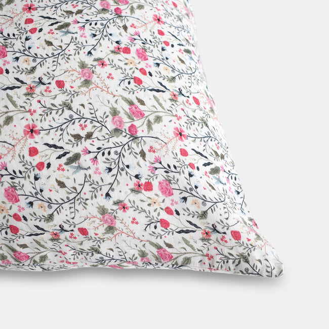 Linge Particulier Pink Flowers Standard Linen Pillowcase Sham for a colorful linen bedding look in small floral pattern - Collyer's Mansion