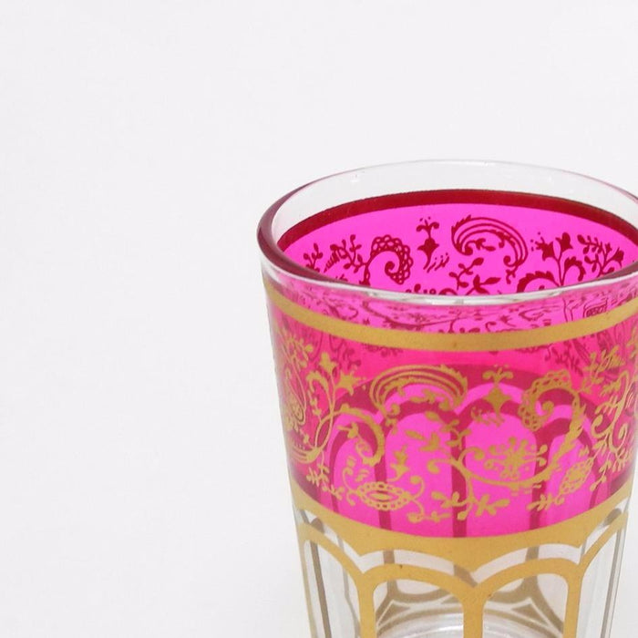 Moroccan Tea Glass with Pink etching is made in Morocco and is a perfect gift or alternative wine glass - Collyer's Mansion