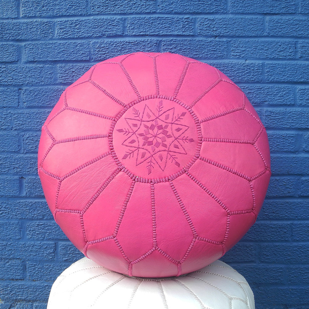 Moroccan Leather Pouf, pink