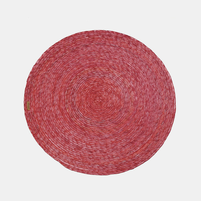 Red Round Woven Palm Placemat by Makaua at Collyer's Mansion