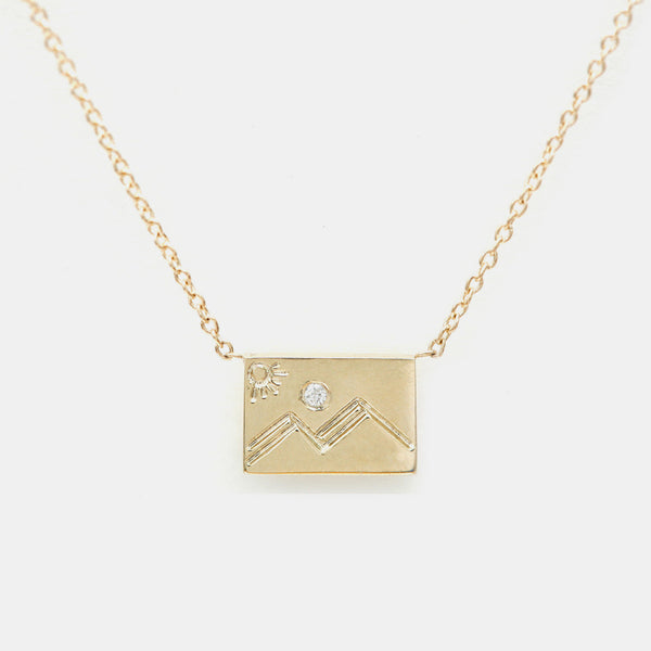 Diamond Postcard Charm Necklace, mountain