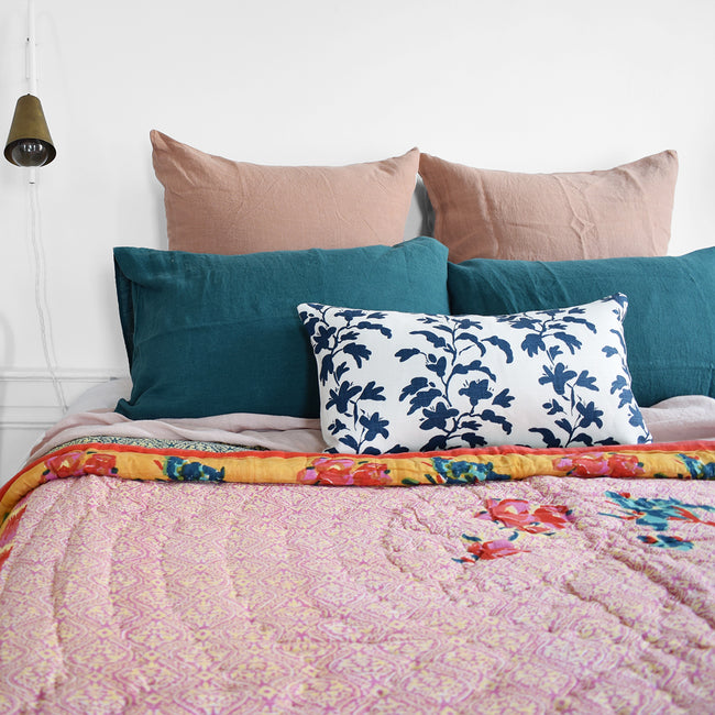 Linge Particulier Vintage Green Standard Linen Pillowcase Sham with a Lisa Corti quilt for a colorful linen bedding look in deep teal green - Collyer's Mansion