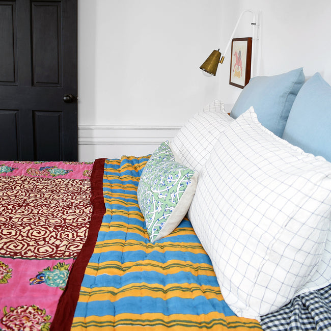 Linge Particulier Navy Check Standard Linen Pillowcase Sham with a Lisa Corti quilt and blue euro shams for a colorful linen bedding look in blue check - Collyer's Mansion