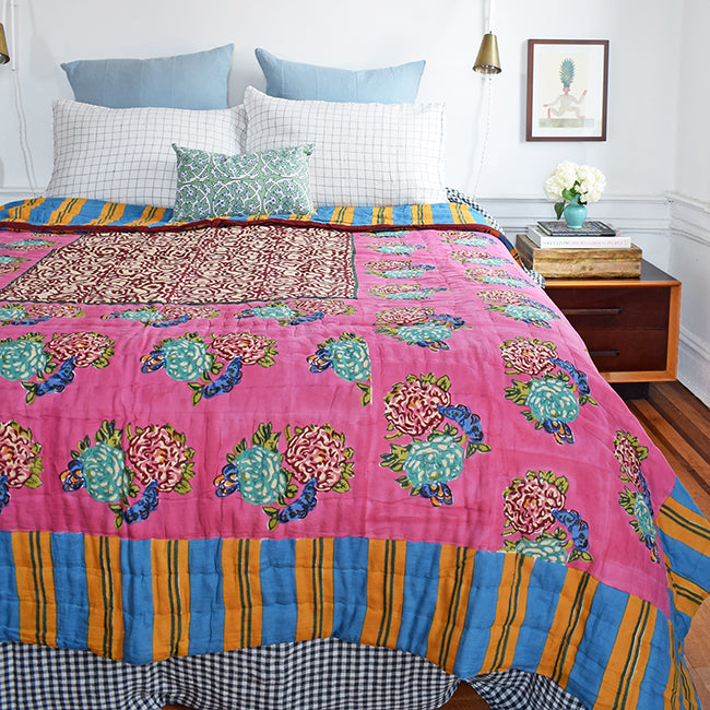 King Old Pink Quilt, twin or queen/king