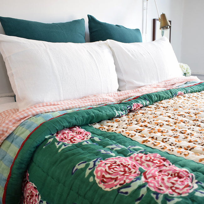 Linge Particulier Vintage Green Euro Linen Pillowcase Sham with a Lisa Corti quilt and gingham linen sheet for a colorful linen bedding look in deep teal green - Collyer's Mansion
