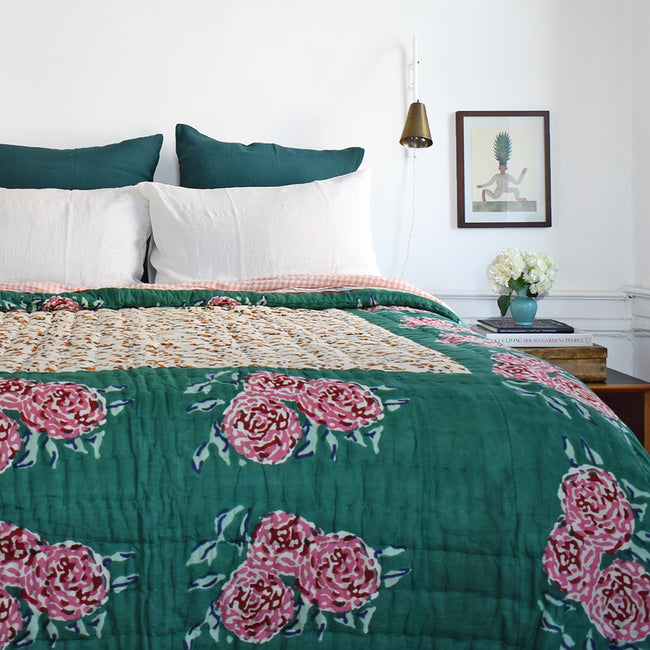 Linge Particulier Off White Standard Linen Pillowcase Sham with Lisa Corti quilt and deep green euro shams for a colorful linen bedding look in soft white - Collyer's Mansion