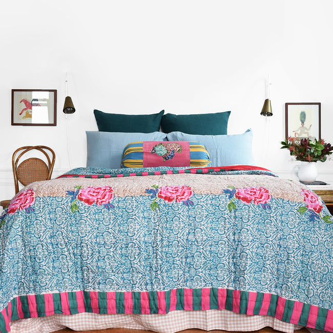 Linge Particulier Scandinavian Blue Standard Linen Pillowcase Sham with Lisa Corti quilt and green euro shams for a colorful linen bedding look in grey blue - Collyer's Mansion