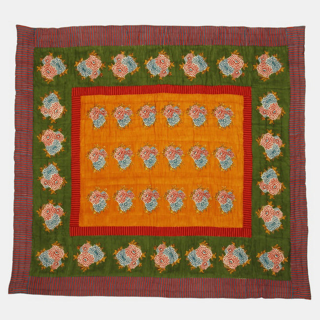 Corolla Green Gold Quilt, queen/king, Quilt, Lisa Corti, Collyer's Mansion - Collyer's Mansion