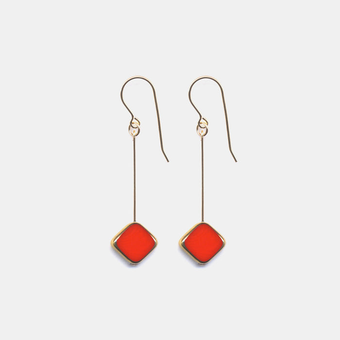 Red Diamond Drop Earrings