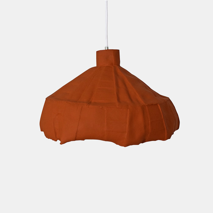 Burnt Orange Round Paper Clay Pendant, small