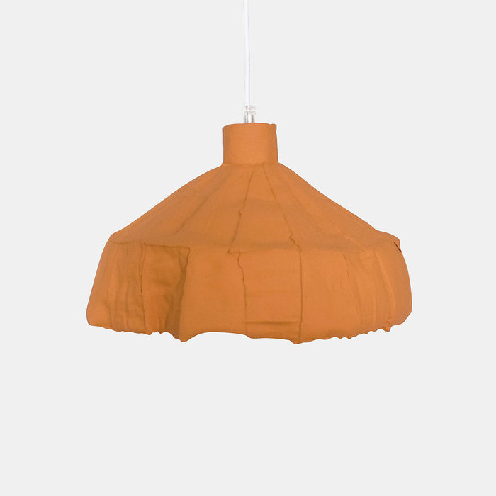 Mustard Round Paper Clay Pendant, small