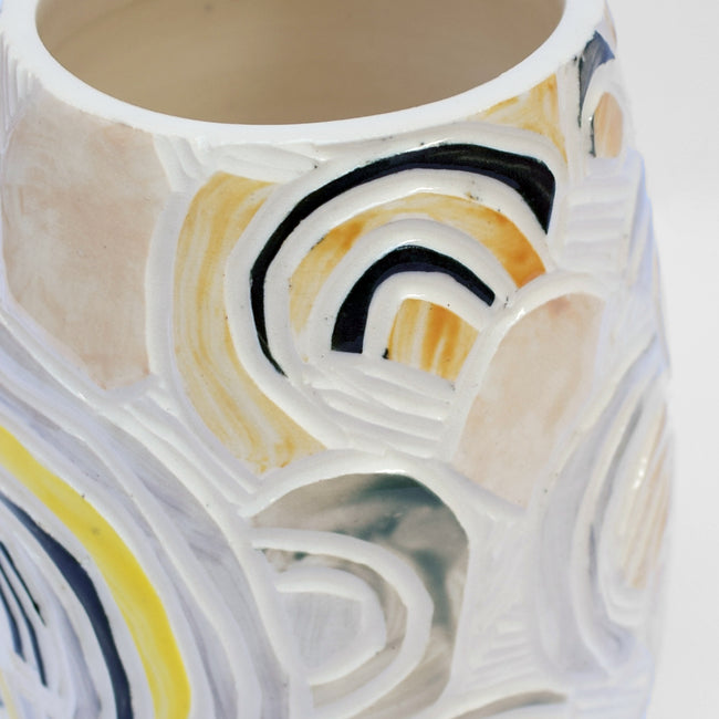 Rainbow Carved Painted Vase