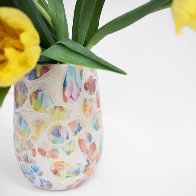 Rainbow Floral Painted Vase