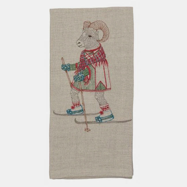 Cross Country Skiing Ram Tea Towel, Kitchen Cloth, Coral & Tusk, Collyer's Mansion - Collyer's Mansion