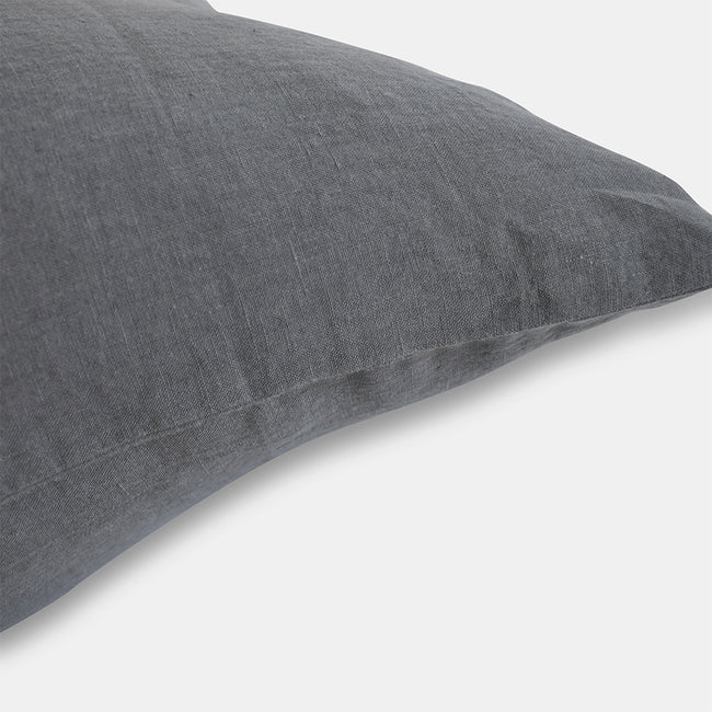 Linge Particulier Real Grey Euro Linen Pillowcase Sham for a colorful linen bedding look in elephant grey - Collyer's Mansion