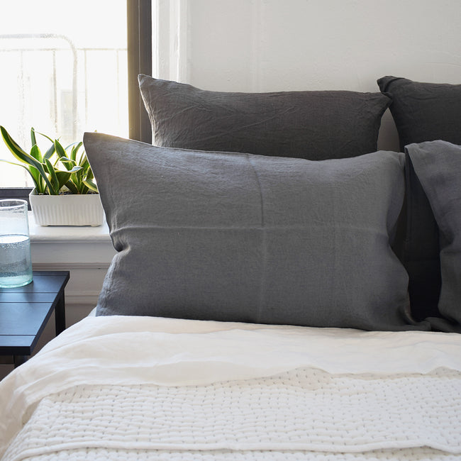 Linge Particulier Real Grey Standard Linen Pillowcase Sham with stitched Indian quilt for a colorful grey linen bedding look in elephant grey - Collyer's Mansion