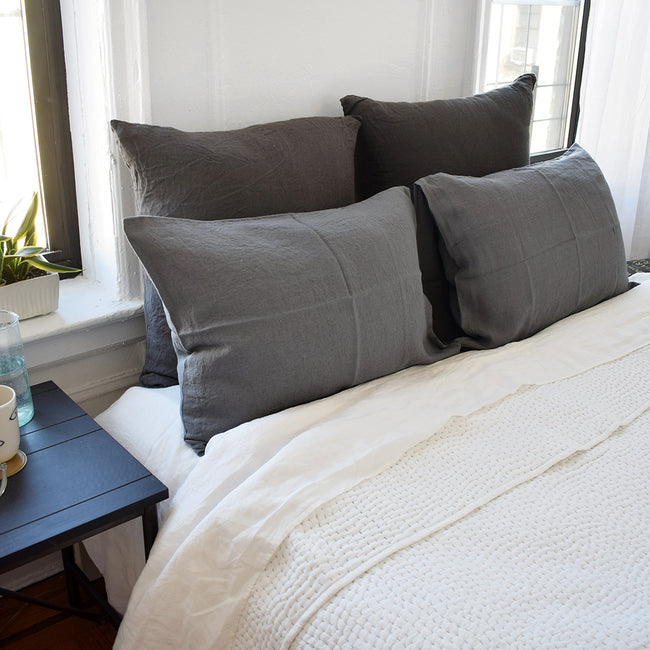 Linge Particulier Storm Grey Euro Linen Pillowcase Sham with a stitched Indian quilt for a colorful linen bedding look in charcoal grey - Collyer's Mansion