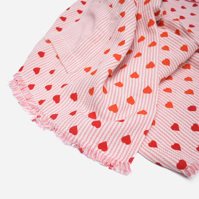 Red Orange Pink Heart Stripe Cotton Throw by Moismont at Collyer's Mansion