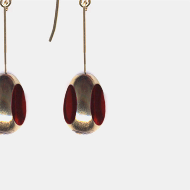 Red Translucent Bean Drop Earrings